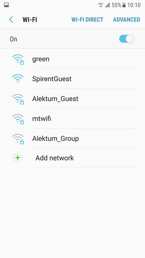 Select the wireless network you want to connect to