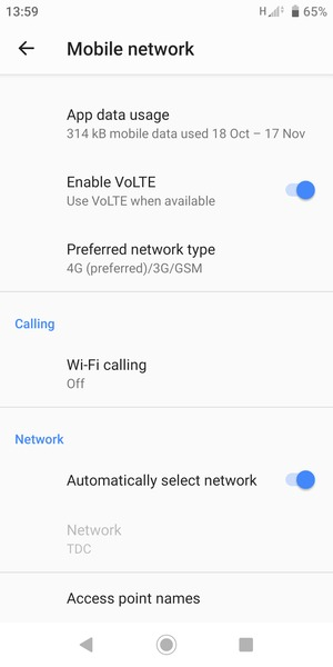 Turn off Automatically select network