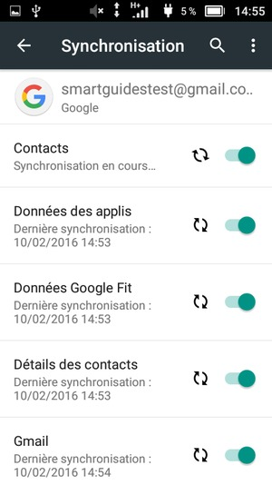 Vos informations seront synchronisées