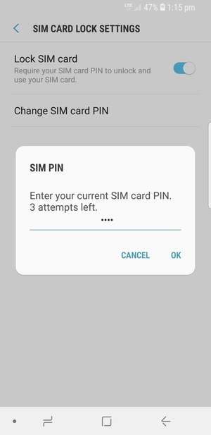 Enter your Current SIM card PIN and select OK