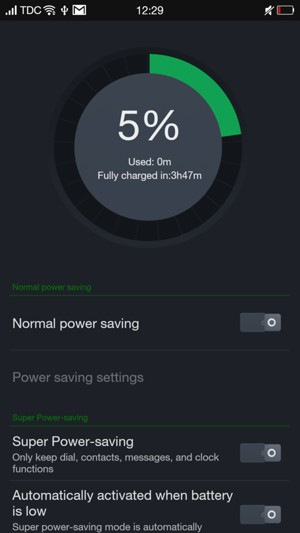 To enable Super Power-saving, return to the Battery manager menu
