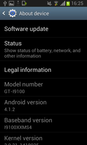 Update software - Samsung Galaxy S2 - Android 4 1 - Device