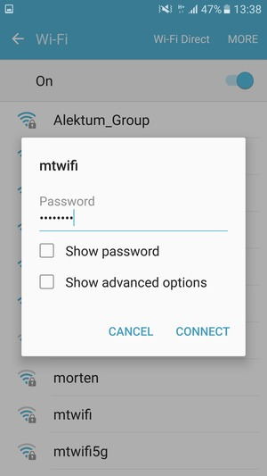 Enter the Wi-Fi password and select CONNECT