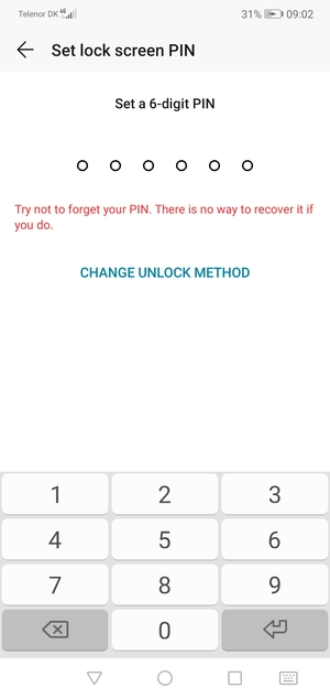 Select CHANGE UNLOCK METHOD
