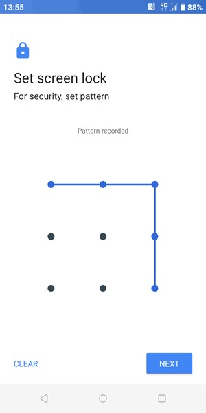 Draw an unlock pattern and select NEXT