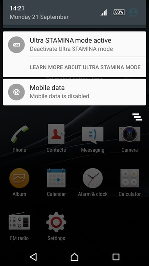 Select Ultra STAMINA mode active